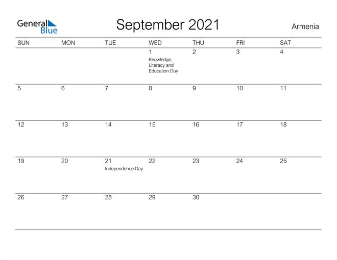 Printable September 2021 Calendar for Armenia