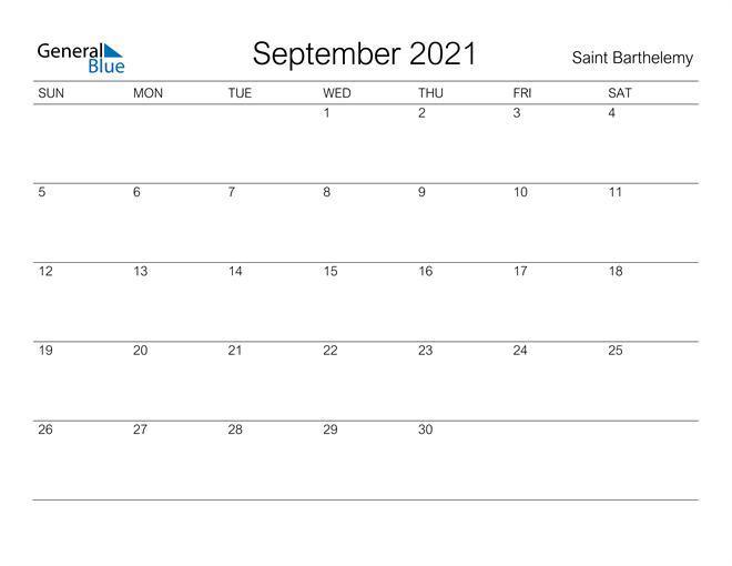Printable September 2021 Calendar for Saint Barthelemy