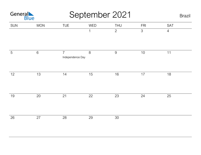 Printable September 2021 Calendar for Brazil