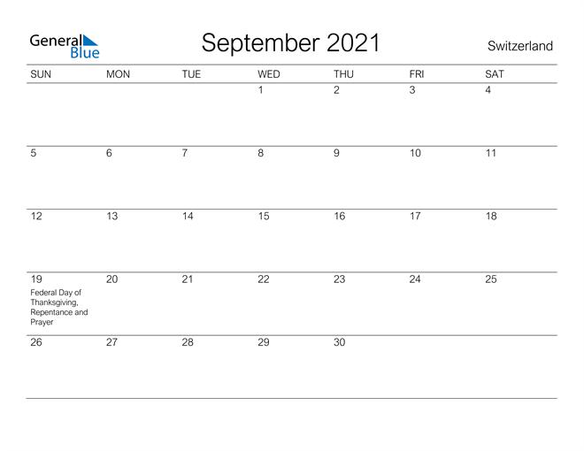 Printable September 2021 Calendar for Switzerland