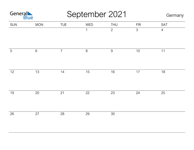 Printable September 2021 Calendar for Germany