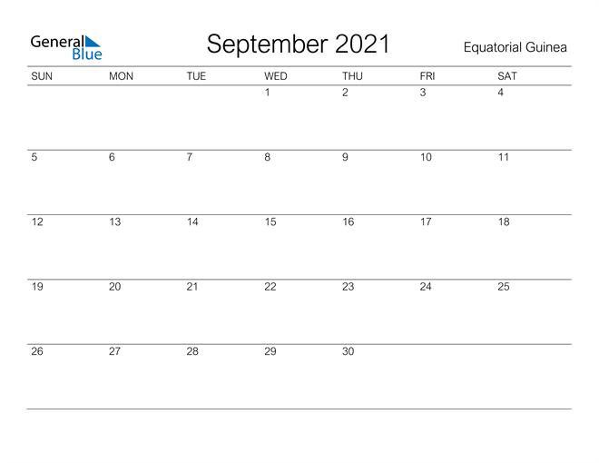 Printable September 2021 Calendar for Equatorial Guinea