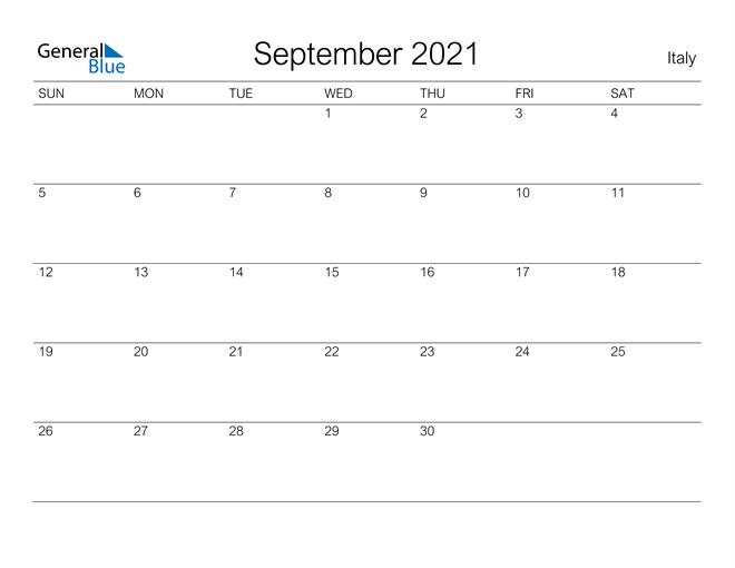 Printable September 2021 Calendar for Italy