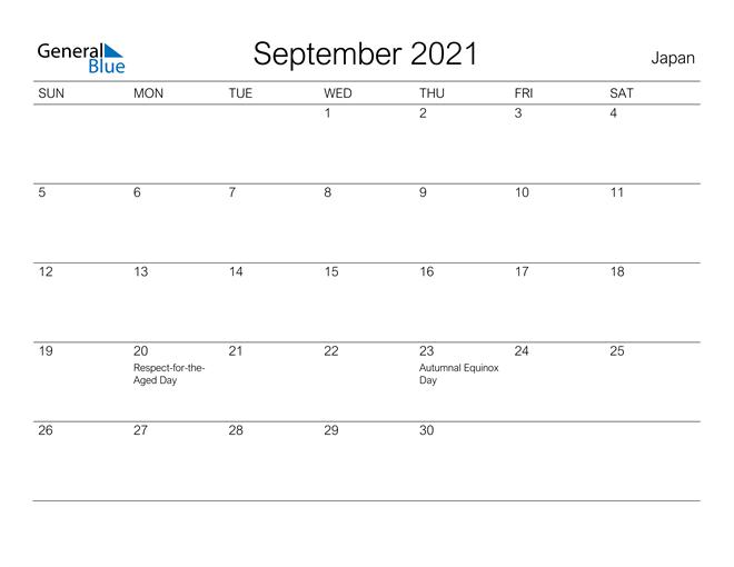 Printable September 2021 Calendar for Japan