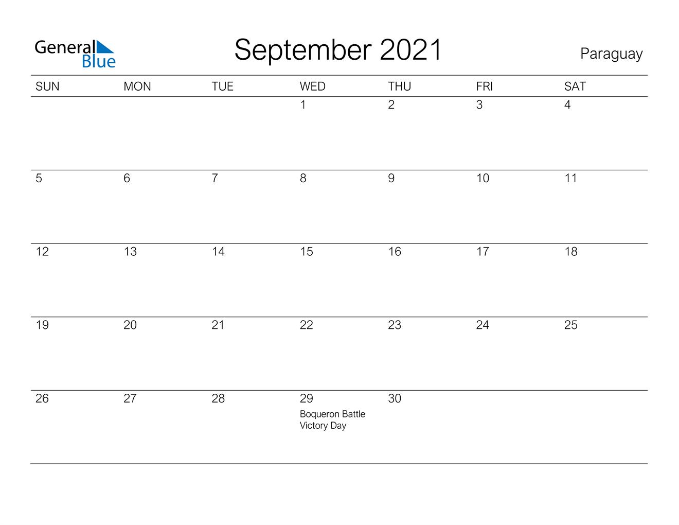 September 2021 Calendar - Paraguay