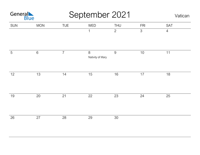 Printable September 2021 Calendar for Vatican
