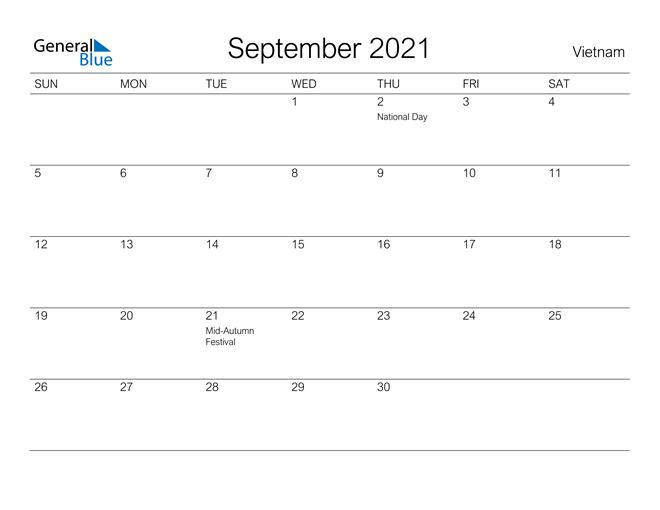Printable September 2021 Calendar for Vietnam