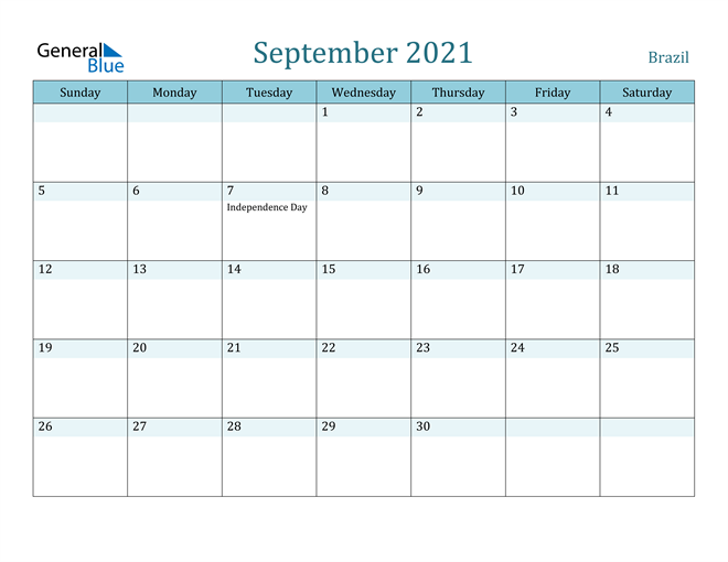 September 2021 Calendar with Holidays in PDF, Word, and Excel