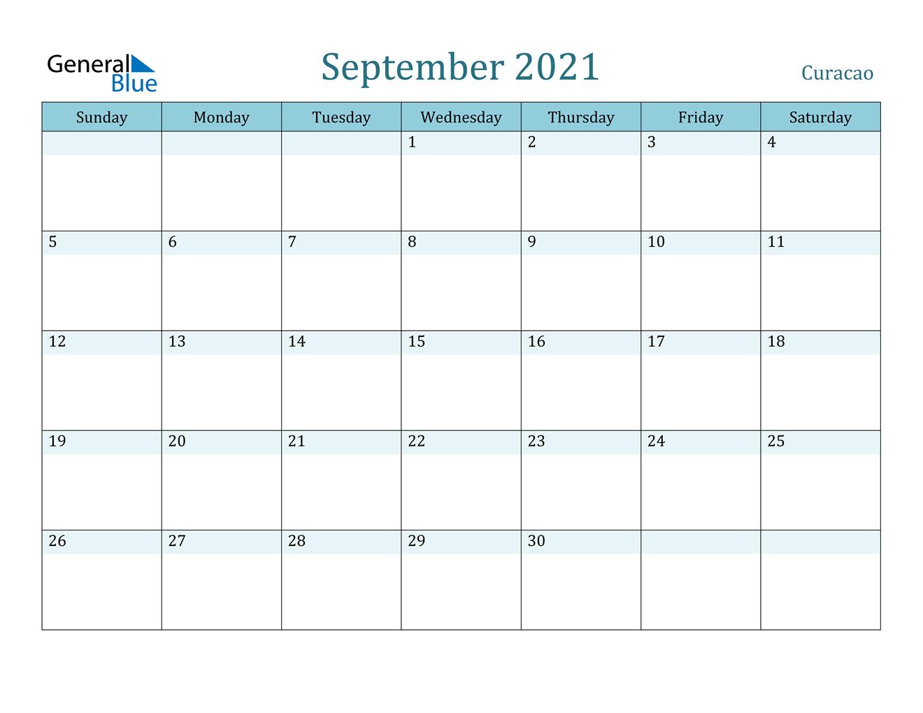 September 2021 Calendar - Curacao