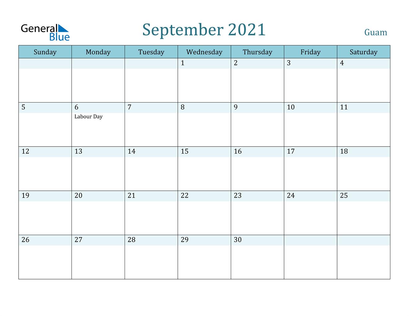 September 2021 Calendar - Guam