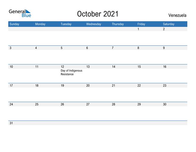 Fillable October 2021 Calendar