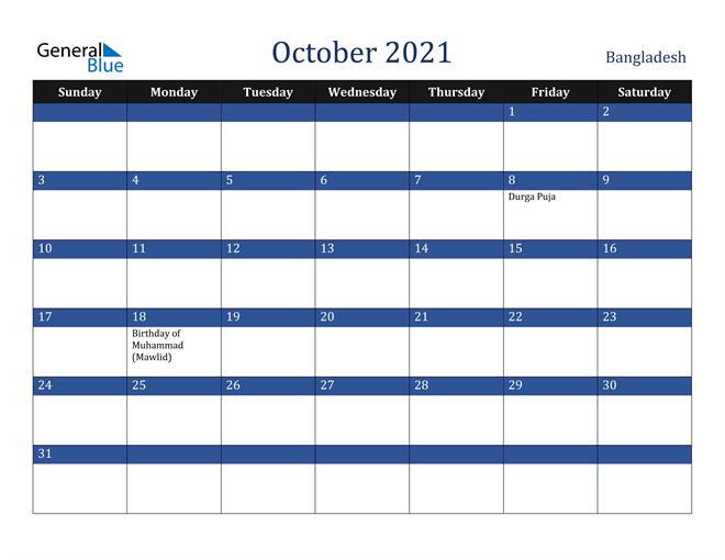 Image of October 2021 Stylish Dark Blue Calendar in PDF, Word and Excel Calendar