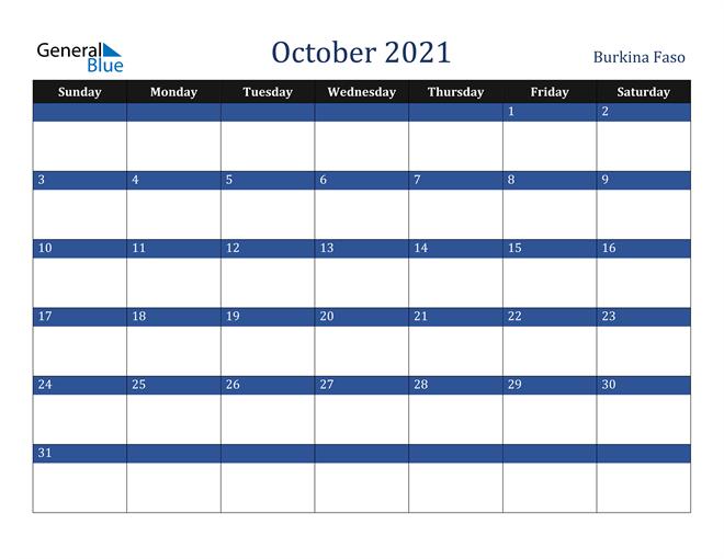 October 2021 Burkina Faso Calendar