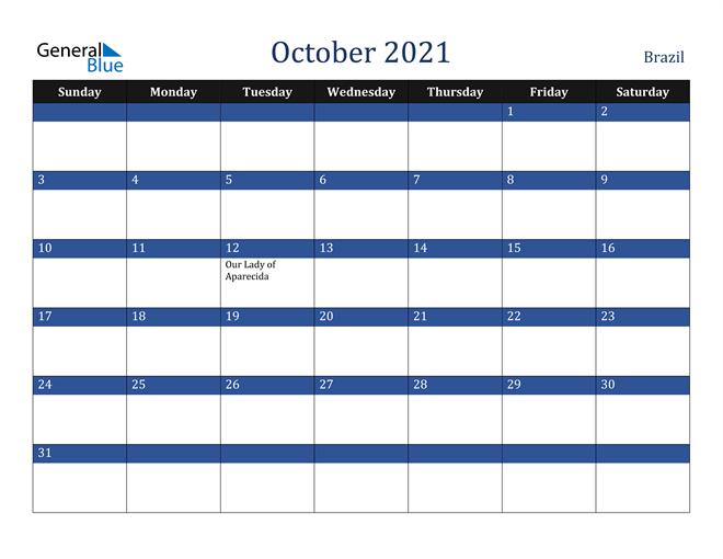 October 2021 Brazil Calendar
