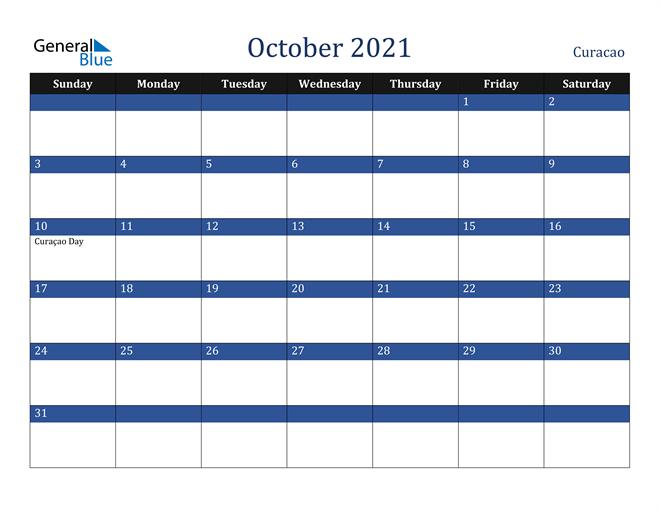 October 2021 Curacao Calendar