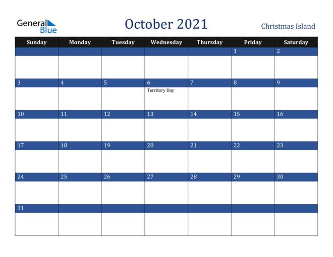 October 2021 Christmas Island Calendar