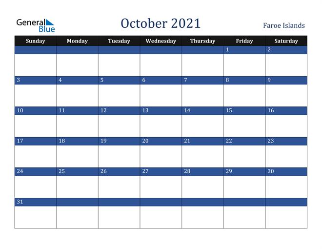 October 2021 Faroe Islands Calendar