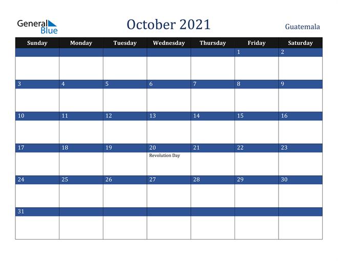 October 2021 Guatemala Calendar