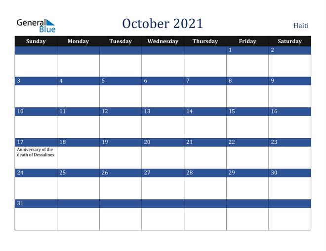 October 2021 Haiti Calendar