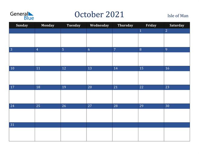 October 2021 Isle of Man Calendar