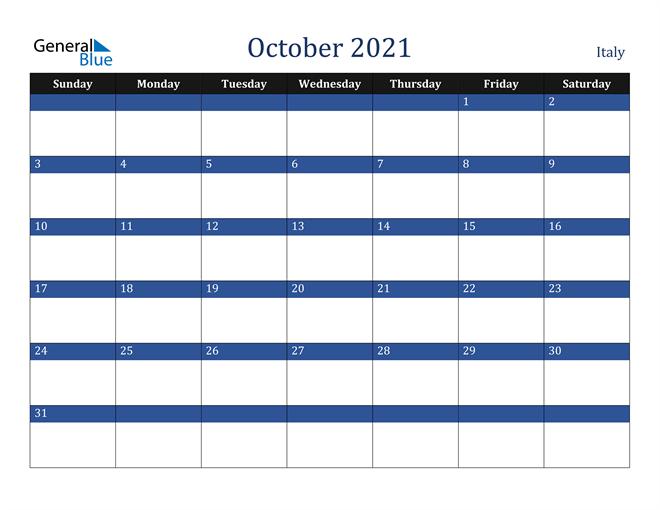 October 2021 Italy Calendar