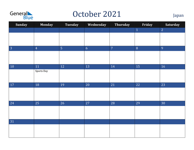 October 2021 Japan Calendar
