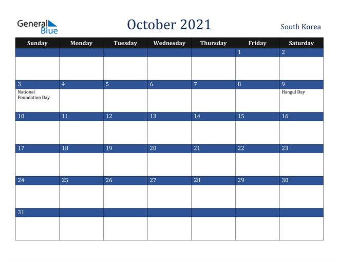 October 2021 South Korea Calendar