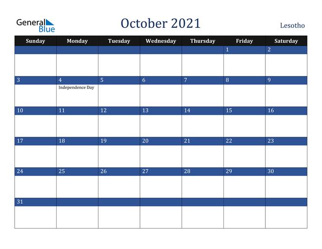 October 2021 Lesotho Calendar