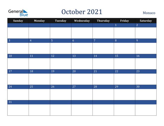 October 2021 Monaco Calendar