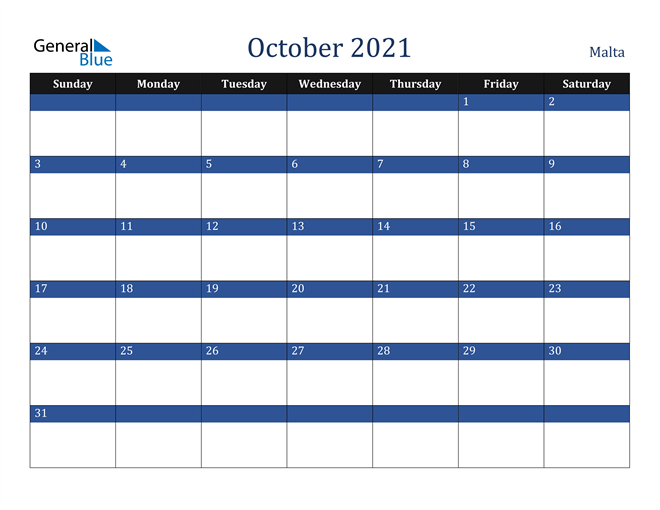 October 2021 Malta Calendar