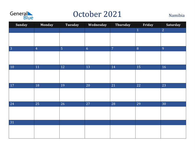 October 2021 Namibia Calendar