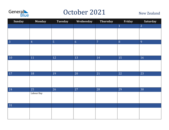 Image of October 2021 Stylish Dark Blue Calendar in PDF, Word and Excel Calendar