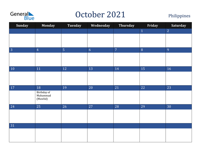 October 2021 Philippines Calendar