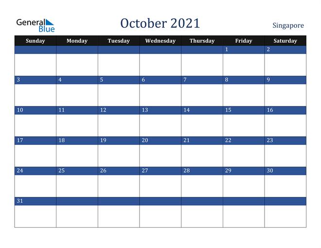 October 2021 Singapore Calendar