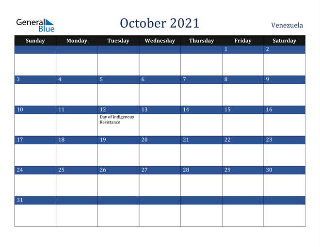 October 2021 Venezuela Calendar