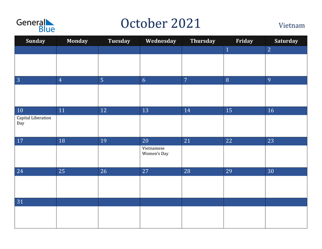 October 2021 Calendar - Vietnam