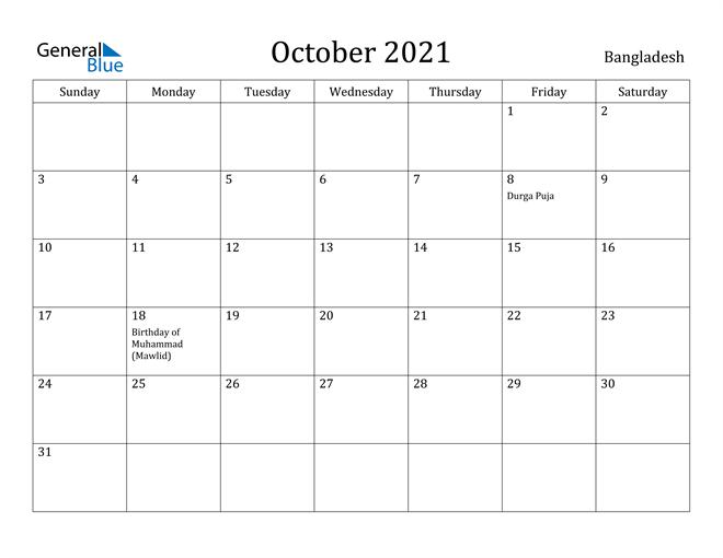 Image of October 2021 Bangladesh Calendar with Holidays Calendar