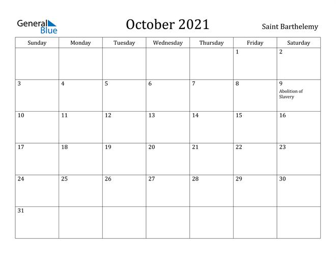 Image of October 2021 Saint Barthelemy Calendar with Holidays Calendar
