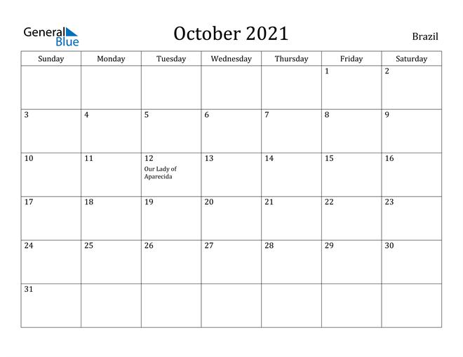 October 2021 Calendar Brazil
