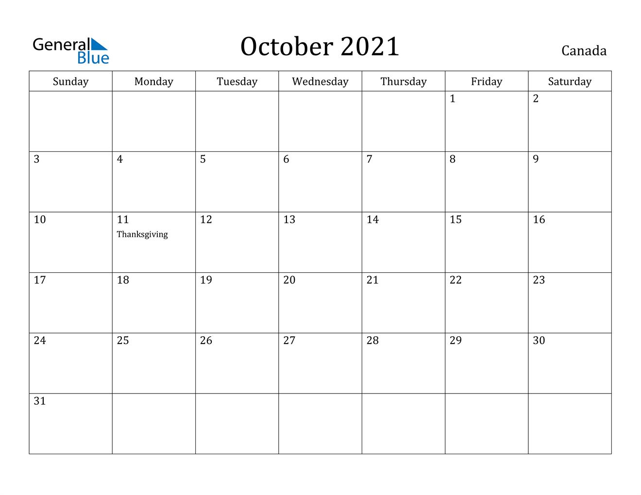 October 2021 Calendar   Canada