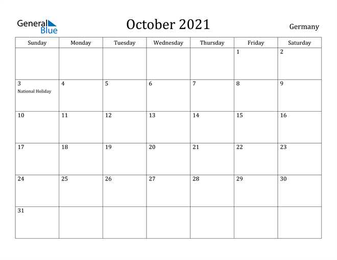 Image of October 2021 Germany Calendar with Holidays Calendar
