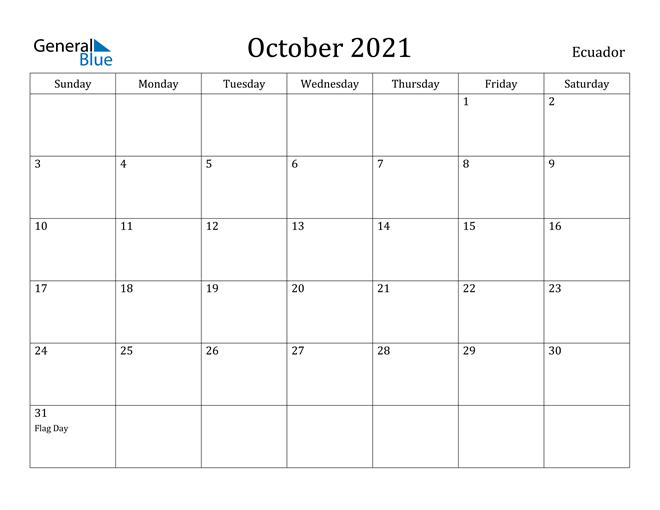 Image of October 2021 Ecuador Calendar with Holidays Calendar
