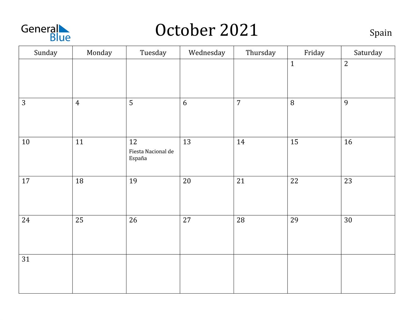 Pictures of October 2021 Calendar'