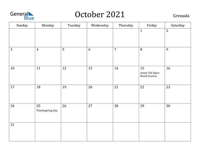 October 2021 Calendar - Grenada