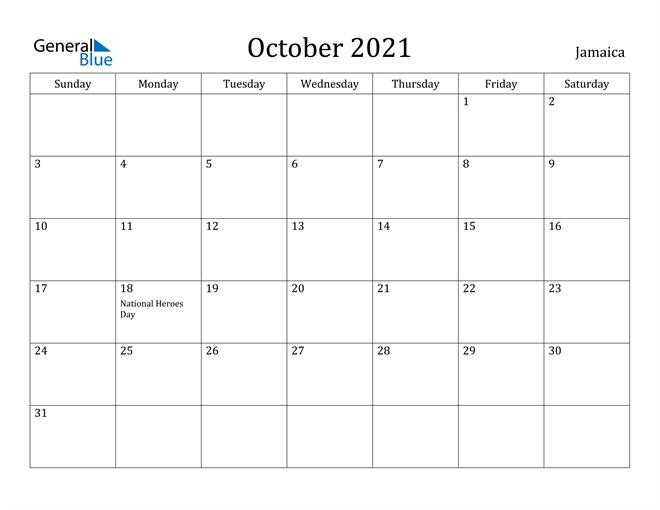 Image of October 2021 Jamaica Calendar with Holidays Calendar