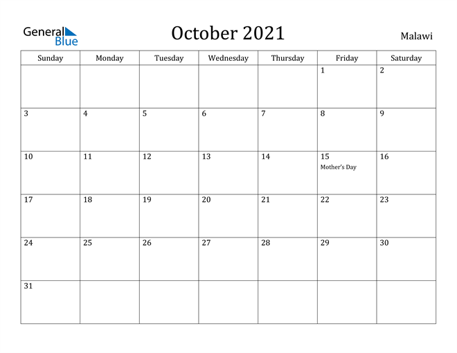 Image of October 2021 Malawi Calendar with Holidays Calendar