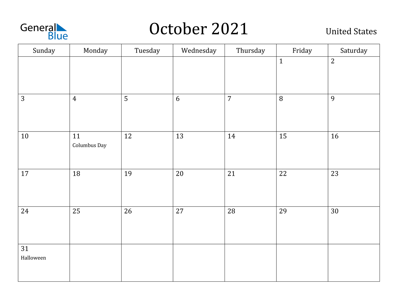 October 2021 Calendar With Holidays Usa October 2021 Calendar   United States