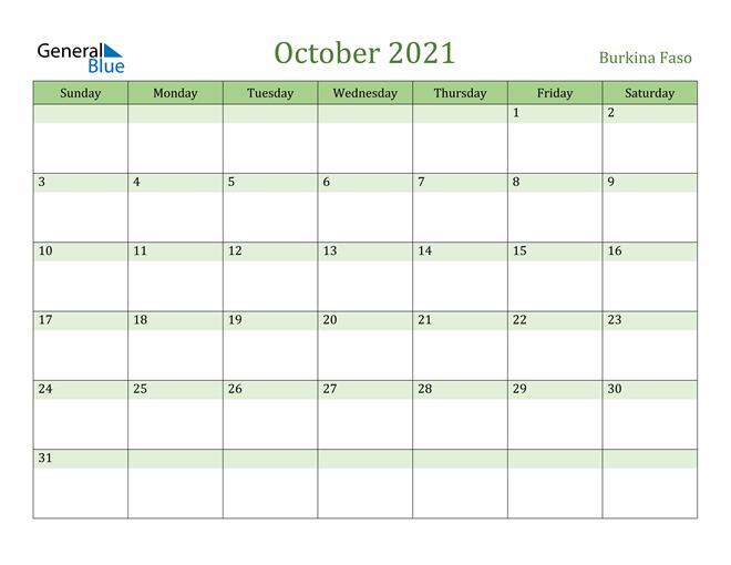 October 2021 Calendar with Burkina Faso Holidays