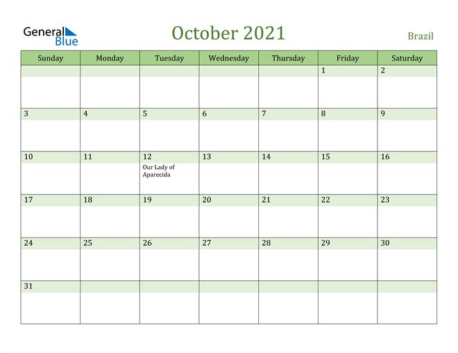 October 2021 Calendar with Brazil Holidays