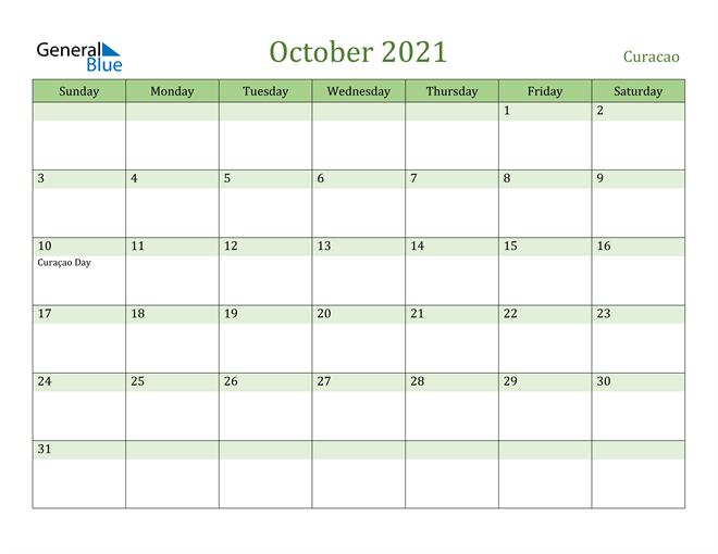 October 2021 Calendar with Curacao Holidays